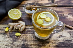 ginger tea on a wood surface