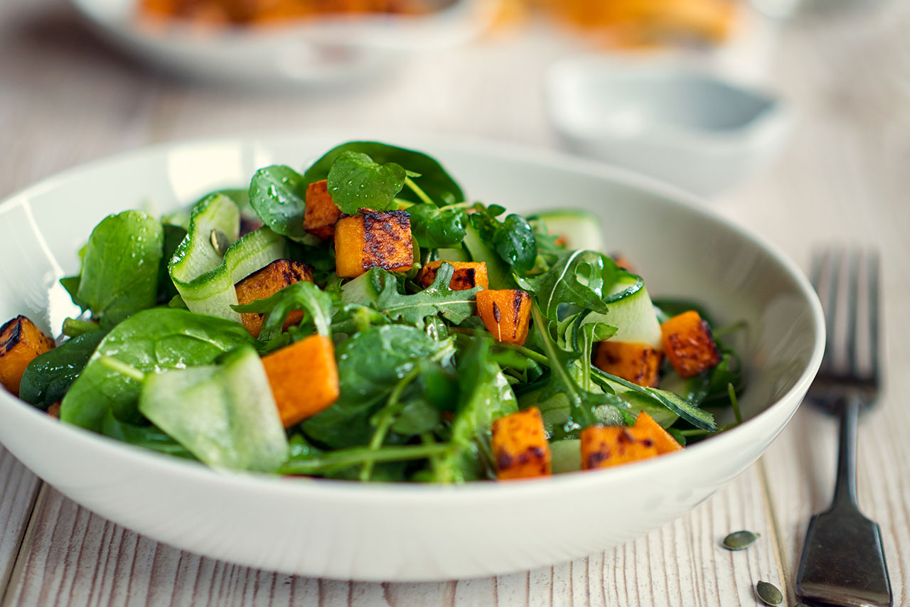 Sweet potato salad prepared in bowl.