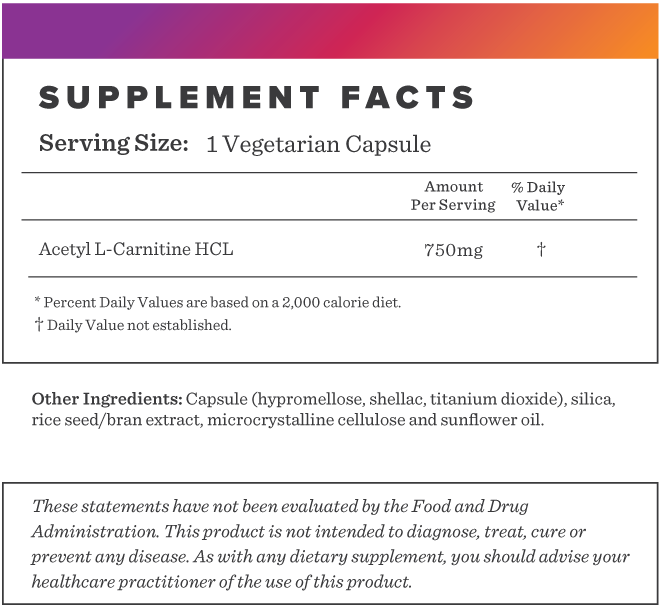 Acetyl-L-Carnitine 750 Supplement-FACTS