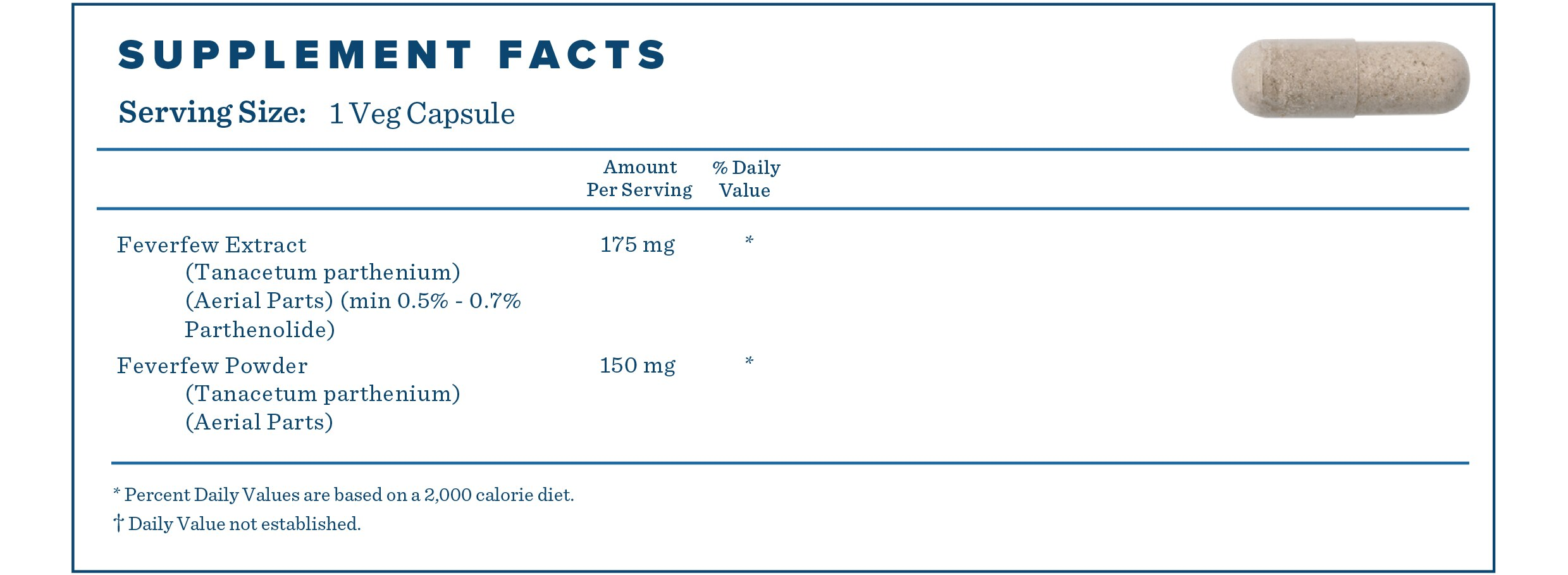 Supplement Facts for Feverfew