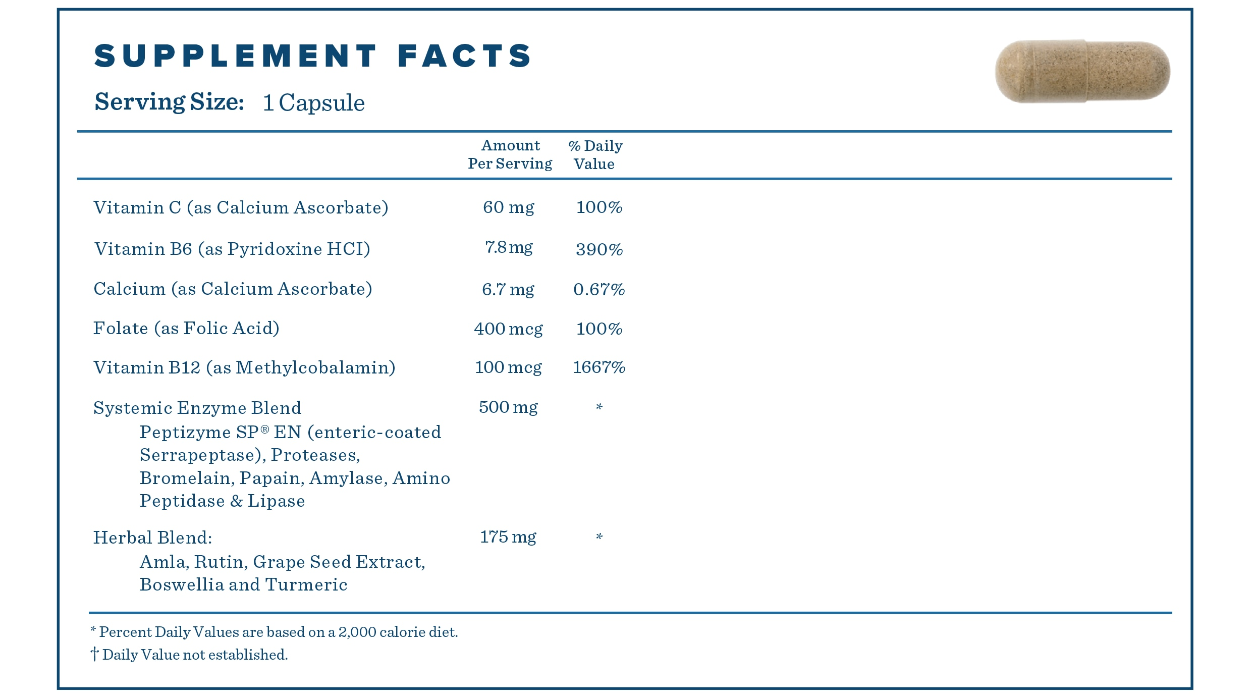 Supplement Facts for Metabolism Support